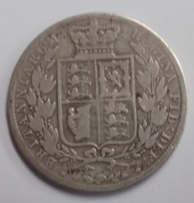 1883 Victorian silver half crown coin