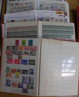 Five albums, stock books of world stamps