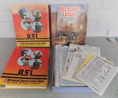 1989 Avalon Hill Games Advance Squad Leader, rules file + Beyond Valor ASL 1 complete, unpressed with original brochures