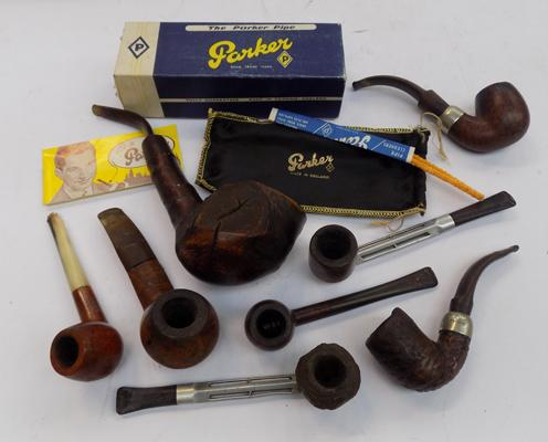 Collection of pipes-some silver collar