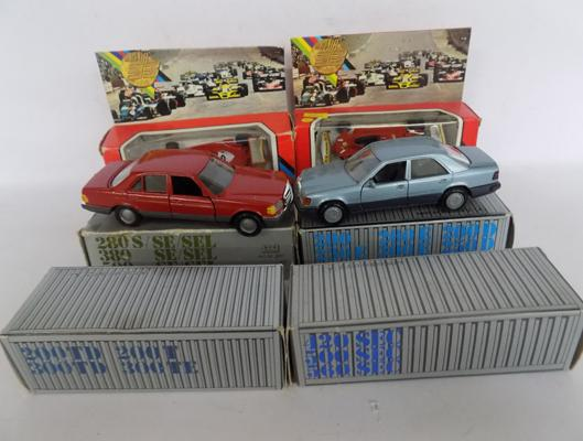 Six diecast cars + racing cars, boxed, new