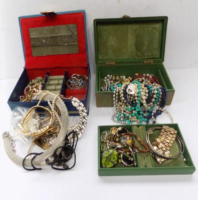 Two jewellery boxes of vintage jewellery