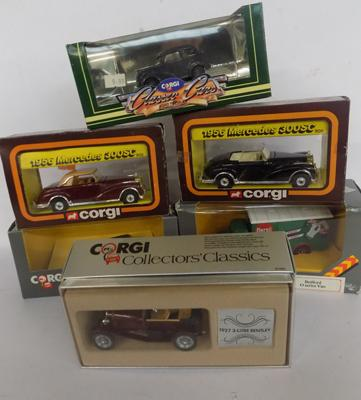 Six Corgi cars + trucks, boxed & new