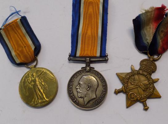WW1 trio of medals, all presented to: Private A. Deakin, Yorkshire Regiment