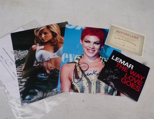 Selection of signed prints incl. Pink, Lemar etc.
