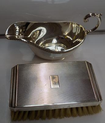 Silver plated sauce boat  & hallmarked brush