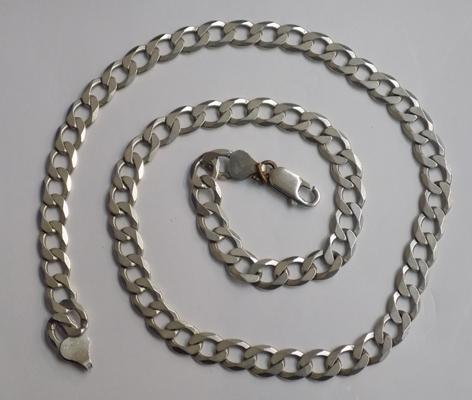 Heavy sterling silver curb line necklace