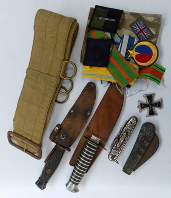 Collection of militaria, incl. knives & medal