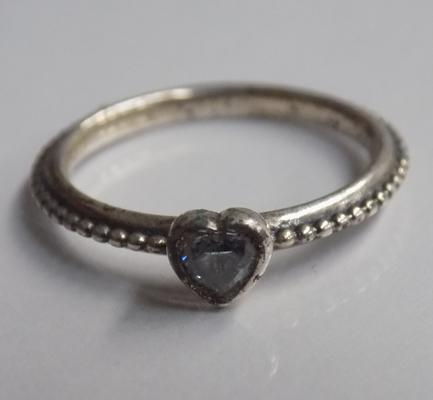Genuine Pandora silver heart ring