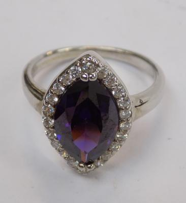 Large purple stone ring (silver)