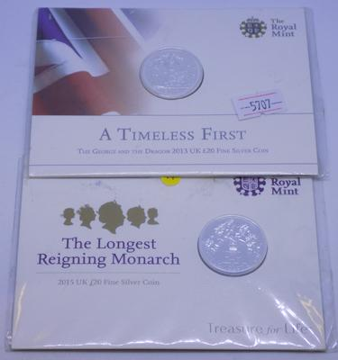 2x Solid silver Royal Mint fine silver coins 'Timeless First' & 'Longest Reigning Monarch'