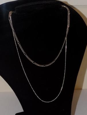 2x silver necklaces/ neck chains