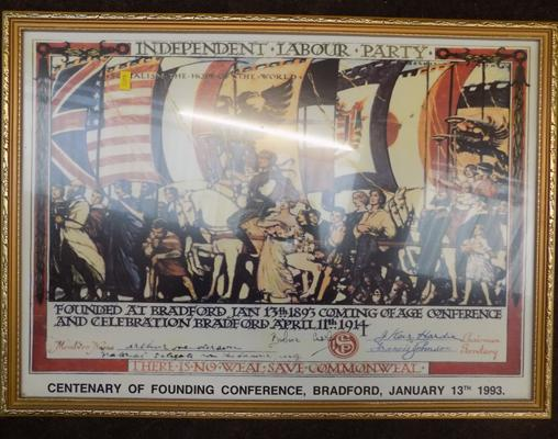 Print celebrating The Independent Labour Party in Bradford, 1993