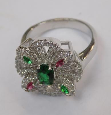 Multi stone cocktail ring (silver)