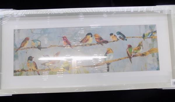 Multi-coloured birds, framed print, 28 inches wide