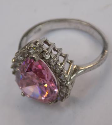 Large bright pink stone ring (silver)