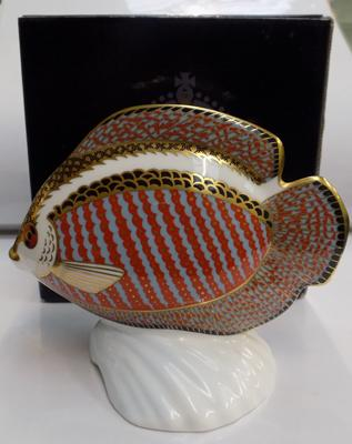 Royal Crown Derby tropical fish, gold stopper paperweight