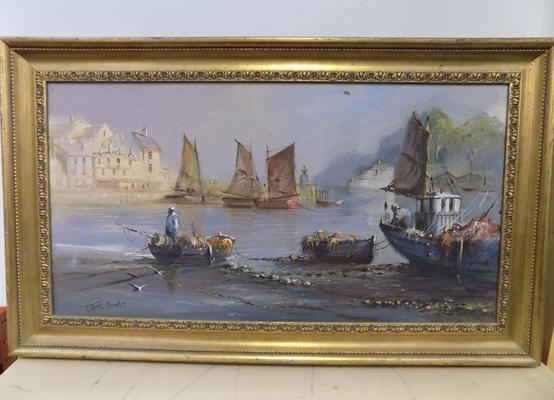 Original oil on canvas in gilt frame, signed by the artist, Terry Burke, 35 x 20 1/2 inches