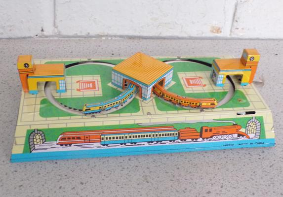 Vintage style tin plate train toy