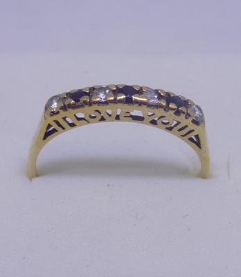 9ct Gold 'I Love You' ring with sapphire size L1/2