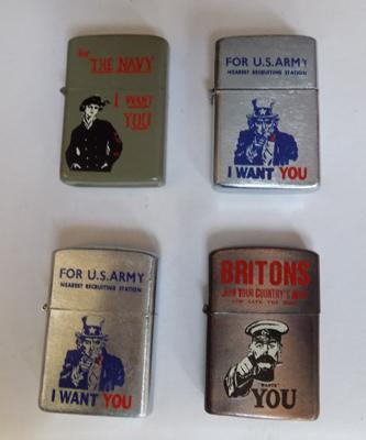 Four WWII style petrol lighters