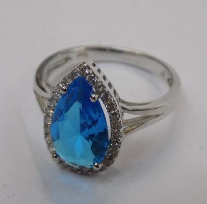 Large blue stone ring (silver)