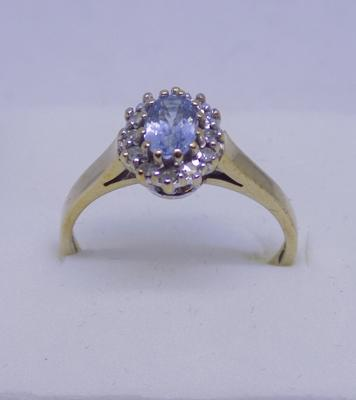 9ct Gold diamond & aquamarine cluster ring size N1/2