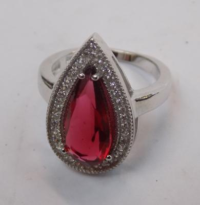 Large red stone ring (silver)