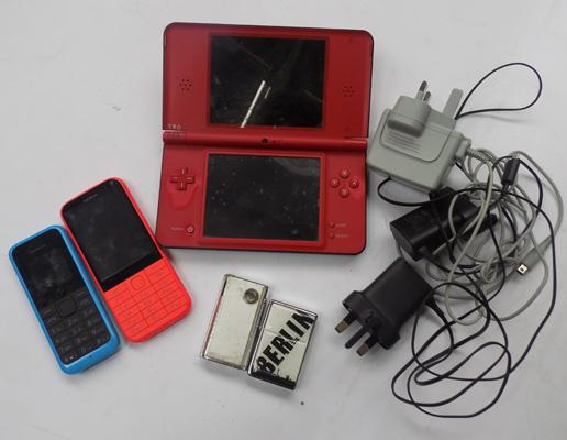 Nintendo DS and 2 Nokia phones