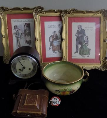 Box lot incl. clock with key, camera, pot, three pictures in frames -one damaged