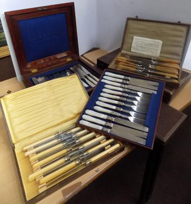 Large selection of cased cutlery