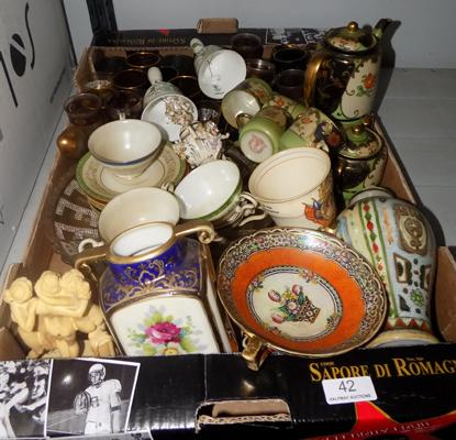 Box of mixed pottery & glasses, incl. Samurai tea set