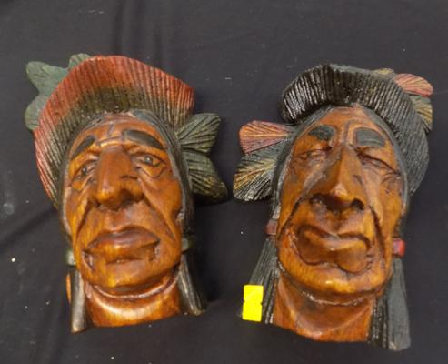 Pair of 9 inch Indian heads
