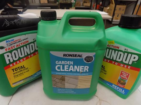 2 tubs of roundup and 1 garden cleaner