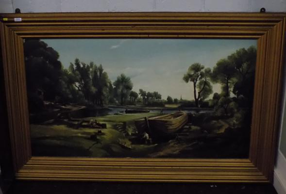 Large framed landscape of river painting by Geoffrey Beck, 1971 - approx. 57 x 36 inches high (including frame)