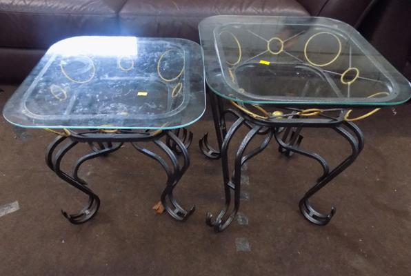 Two wrought iron side tables
