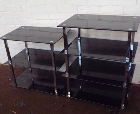 2x Black glass display units