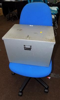 Swivel office chair & strong box with key