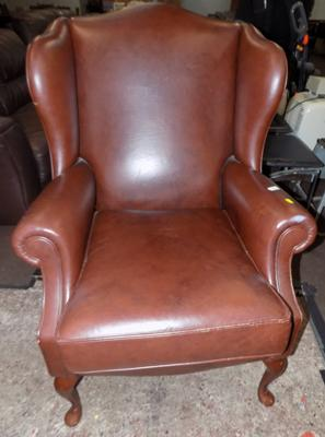 Sherborne high back winged chair, brown leather
