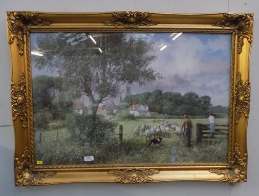 Large print country scene signed by artist