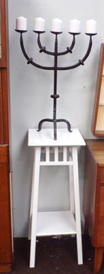Tall hall table with wrought iron candle stand