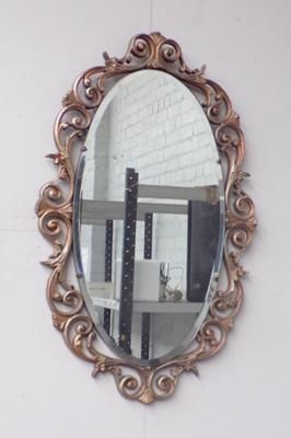 Large vintage oval bevel edged framed mirror