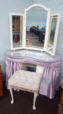 Vintage vanity dressing table with standing tri-bevel edged mirror and stool