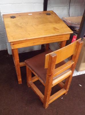 Vintage wooden child's desk and chair