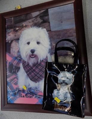 Framed picture of Scottie dog & Harrods bag with scene
