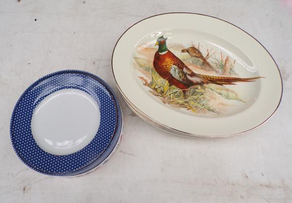 Set of six bone China pheasant plates and Arthur wood nostalgia plates