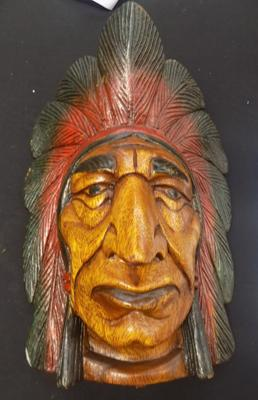12 inch carved Indian head