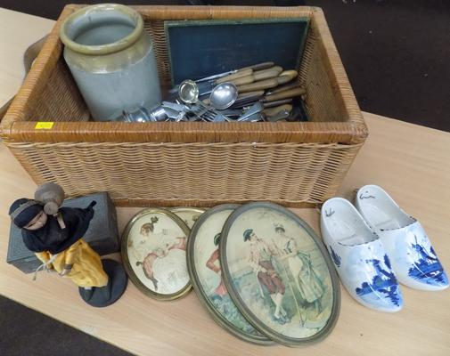 Large box of mixed collectables incl. cutlery