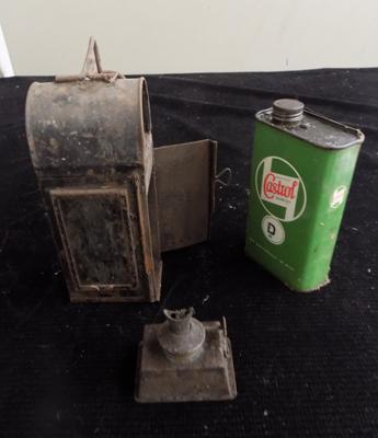 Railway signallers lamp and small castrol oil tin