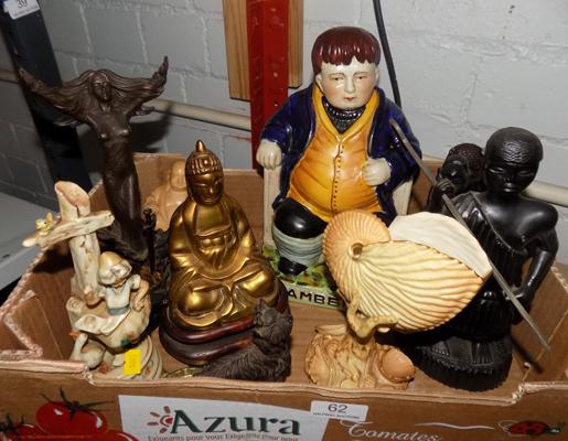 Box of mixed ornaments, incl. brass Buddha